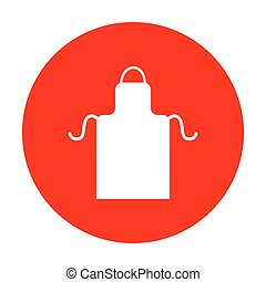 Apron simple sign. White icon on red circle.