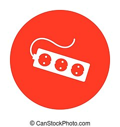 Electric extension plug sign. White icon on red circle.