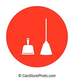 Dustpan vector sign. Scoop for cleaning garbage housework dustpan equipment. White icon on red circle.