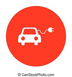 Eco electric car sign. White icon on red circle.