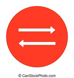 Arrow simple sign. White icon on red circle.