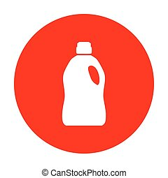 Plastic bottle for cleaning. White icon on red circle.