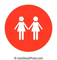 Lesbian family sign. White icon on red circle.