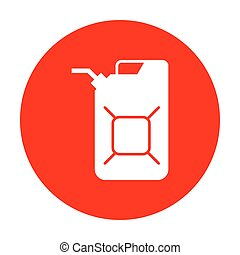 Jerrycan oil sign. Jerry can oil sign. White icon on red...