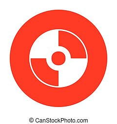 Vector CD or DVD sign. White icon on red circle.