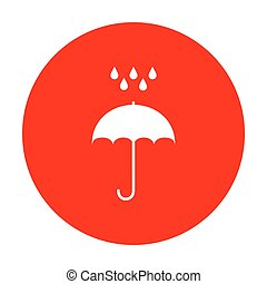 Umbrella with water drops. Rain protection symbol. Flat design style. White icon on red circle.