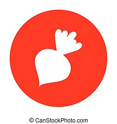 Beet simple sign. White icon on red circle.