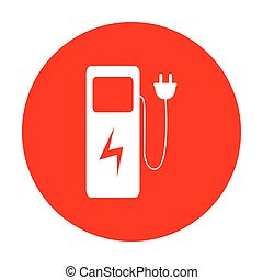 Electric car charging station sign. White icon on red...