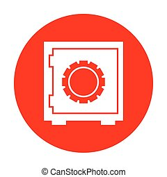 Safe sign illustration. White icon on red circle.