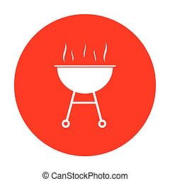 Barbecue simple sign. White icon on red circle.