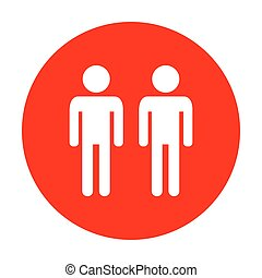 Gay family sign. White icon on red circle.