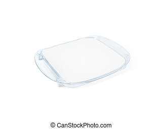Plastic tip tray with blank paper mockup isolated on white