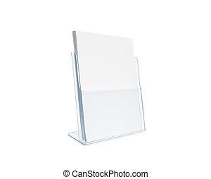 Blank flyer mockup glass plastic transparent holder...