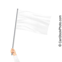 Blank white flag mock up isolated holding in hand. Large...