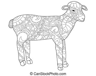 Sheep Coloring vector for adults - Zentangle style. Coloring...