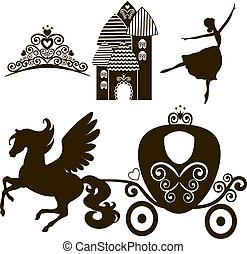 Cinderella set of collections. Crown, Vector illustration....
