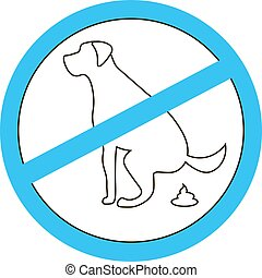 No dog pooping sign black silhouette on white background -...