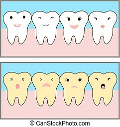 teeth whitening before and after example. Cute characters. funny emotions