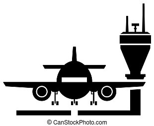 plane on airport icon - black icon with plane silhouette on...