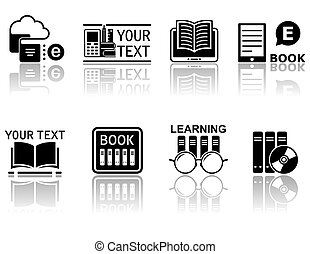 book concept symbols with reflection