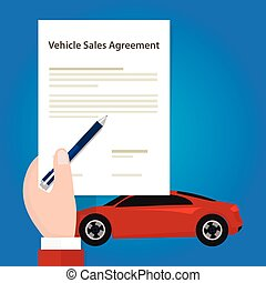vehicle sales agreement document paper car hand holding...