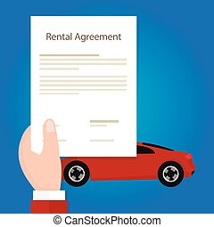 Rental agreement car hand holding document paper