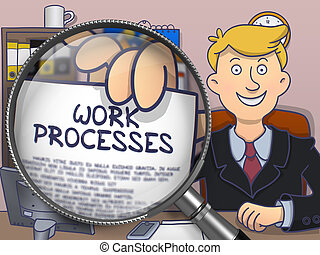 Work Processes through Magnifying Glass. Doodle Design.