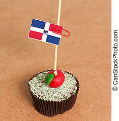 dominican republic flag on a apple cupcake,picture of a
