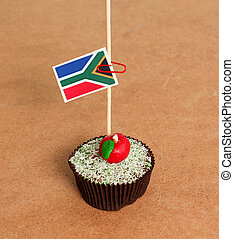 South Africa flag on a apple cupcake,picture of a