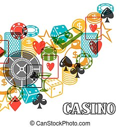 Casino gambling background design with game objects.
