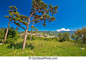 Town of Senj nature and coast view, Primorje, Croatia
