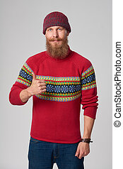 Serious confident bearded hipster man - Bearded hipster man...