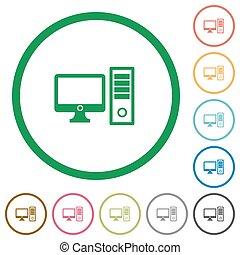 Desktop computer outlined flat icons - Set of desktop...