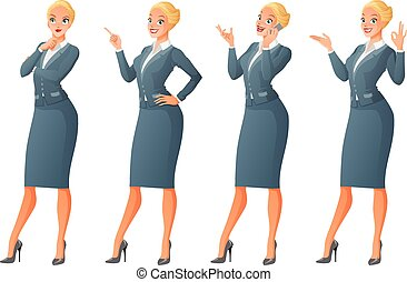 Blond business woman in different poses. Vector set.