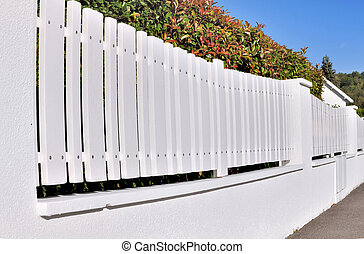 white pvc fence with hedge back in residential street