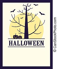Vintage Halloween spooky tree, pumpkins and bats poster