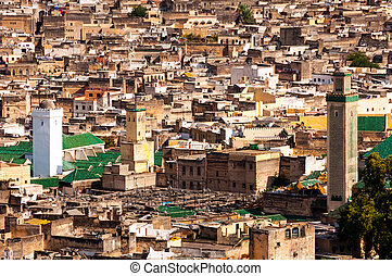 Aerial view of Fez medina Old town, Morocco