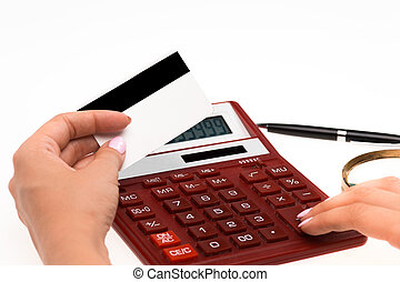 Concept for Internet shopping: hands with calculator and...
