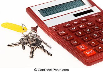 The red calculator with a keys on a white background