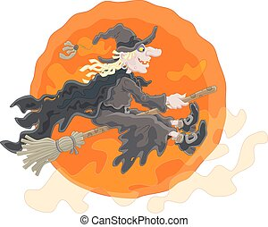 Halloween witch - The All Hallows' Eve night, a sorceress in...