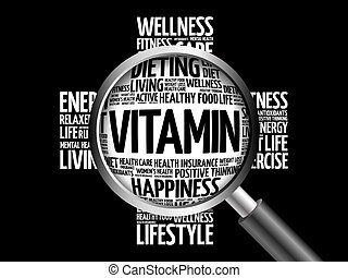 VITAMIN word cloud with magnifying glass, health concept 3D...