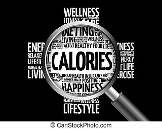 CALORIES word cloud with magnifying glass, health concept 3D...