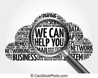 We can help you word cloud with magnifying glass, business...