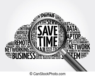 Save Time word cloud with magnifying glass