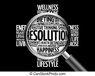 RESOLUTION word cloud with magnifying glass, health concept...