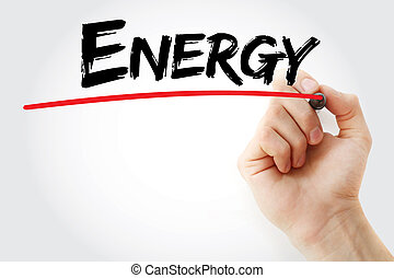 Hand writing Energy with marker, health concept