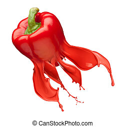 red bell pepper and Ink Splashes isolated on white