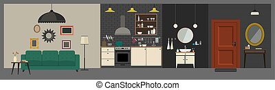 Apartment interior in flat style.