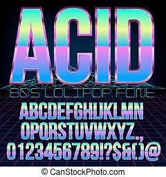 Acid sci-fi font - Acid Lollipop style Retro futurism 80's...