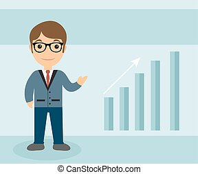 Businessman character flat style. Businessman with the scale of growth. Businessman Up Arrow. Vector illustration